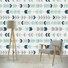 Love This Removable L And Stick Wallpaper The Chevron Arrows In Mint Navy Are