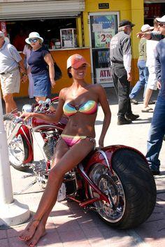 HOT MOTORCYCLE MAMA - TINY BIKINI - NICE BIKE TOO!