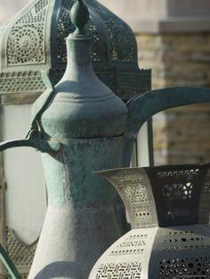 Old Arabian Coffee Pot and Jars, Dubai, United Arab Emirates Photographic Print