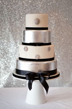 Silver and Black wedding cake