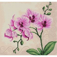 Counted Cross Stitch Kit Pink Orchids Counted Cross Stitch Modern Cross Stitch Embroidery kit Easy DIY cross stitch Flower stitch Luca-S Cross Stitch Embroidery, Embroidery Patterns, Cross Stitch Patterns, Cross Stitching, Floral Embroidery, Tapestry Kits, Rosa Rose, Pink Orchids, Counted Cross Stitch Kits