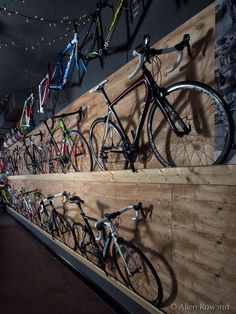 The Path Bicycle and Ride Shop – Photography by Allen Rowand Bicycle Store, Bicycle Rack, Indoor Bike Rack, Range Velo, Bike Room, Bike Shed, Cycle Shop, Cool Bikes, Ideas