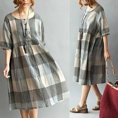 Use of large plaid. Round Neck Loose Fitting Long Maxi Dress  Short by deboy2000, $72.00