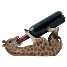 Amazon.com - Drinking Giraffe Wine Bottle Holder Statue in African Jungle Safari Sculptures and Figurines Decor & Wildlife Animal Wine Racks and Stands Gifts -