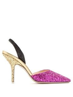 It's the combination of shimmering metallic hot-pink, gold, and black glitter that infuses Attico's Diletta pumps with playful glamour. The striking hues are balanced by a classic, dainty shape that includes a slingback strap, stiletto heel, and soft point toe. Wear them with everything from cropped jeans to floaty dresses.