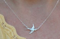 Bird Necklace Mothers Day Necklace Sparrow by dustybluerose99, $23.00