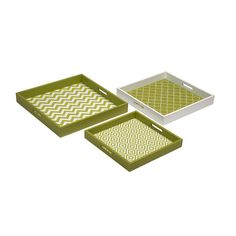 We love organizational tools that double as cute décor. Trendy patterned trays like these can be used for serving while entertaining, or to sort mail in the office. When they're not in use, they make a...  Find the Chic Motif Trays in Green - Set of 3, as seen in the Holiday Gift Guide: Gifts Under $150 Collection at http://dotandbo.com/collections/holiday-gift-guide-2015-gifts-under-150?utm_source=pinterest&utm_medium=organic&db_sku=IMX0392