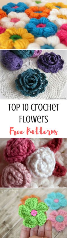 10 of the best crochet flowers from around the web! Here are my top 10 free crochet flower patterns