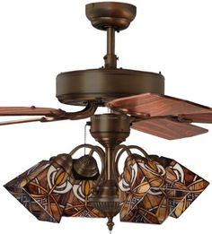 Art nouveau deco ceiling fan tiffany glass lamp shades art tiffany street 269540062 glasgow mission 4 light stained glass bronze ceiling fan by tiffany street mozeypictures Gallery