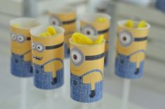 Minion push up pop treats at a Despicable Me birthday party! See more party ideas at CatchMyParty.com!