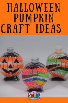 A unique Halloween and fall craft is creating colored sand pumpkins! This colored sand craft project for children, schools and Halloween parties. Each pumpkin is unique when made with colored sand!