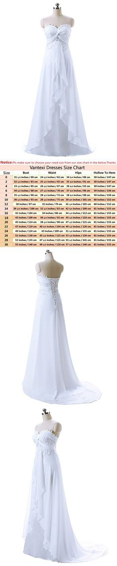 6d8e9f741a92 Vantexi Women's Sweetheart Chiffon Long Beach Wedding Dress White Size 30