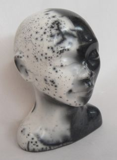 Peaceful head - raku, Elaine Marland, 2014