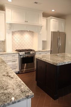 Supreme Kitchen Remodeling Choosing Your New Kitchen Countertops Ideas. Mind Blowing Kitchen Remodeling Choosing Your New Kitchen Countertops Ideas. Grey Granite Countertops, White Cabinets White Countertops, Outdoor Kitchen Countertops, Kitchen Countertop Materials, Granite Kitchen, White Kitchen Cabinets, New Kitchen, Kitchen Decor, Kitchen Grey