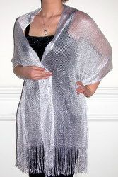 Shiny evening shawls in netted mettalic elegance, evening pashminas, fashion chiffon silk shawls with embellished beauty are unique for women's evening wear.
