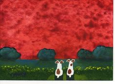 SALE Jack Russell Dog original folk art painting by ToddYoungArt, $34.95