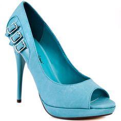 Light blue peep toe heels with buckle details