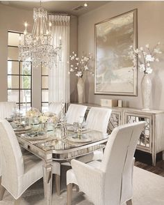 49 Luxury And Elegant Dining Room Ideas - Imagination is the key to a well-designed dining room and choosing a theme around which you can base your furniture and decorating ideas is a great wa. Dining Room Table Decor, Elegant Dining Room, Luxury Dining Room, Beautiful Dining Rooms, Dining Room Design, Dining Room Furniture, Interior Design Living Room, Living Room Decor, Hooker Furniture