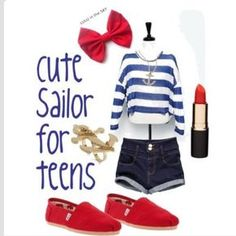 Cute sailor outfit, just maybe different shoes :/ not a big fan of toms..