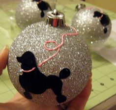Poodle Skirt Dog Silhouette Ornament Balls!  Maybe do something similar with the Barbie silhouette