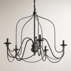 "Rustic Wire Chandelier | World Market $170 Crafted of iron and aluminum with antique gray finish regular 25w type-a 26""Sq. x 24""H, 9 lbs. Use with ballard mercury glass shades?! Kitchen or my office"