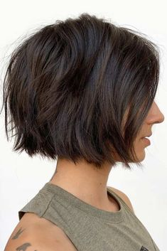 Brown Textured Bob #choppybob #bobhairstyles #bobhaircuts #hairstyles #haircuts ❤ A choppy bob haircut is the needed answer to all thick and thin questions! The advantages of this bob are countless, so if you're looking for styling changes, you've come to the right place. Anything from short layered cuts and medium inverted ideas to long shaggy options with bangs is here! #lovehairstyles #hair #hairstyles #haircuts...