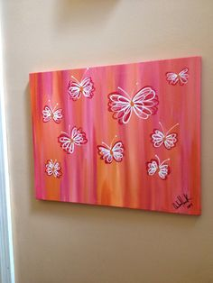 Whimsical Butterfly acrylic painting, on a gallery wrapped 16X20 ready to hang canvas. Red/orange/white/pink on Etsy, $40.00