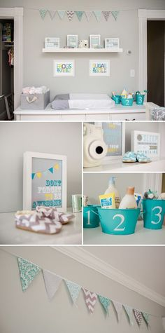 Gray and Aqua Twins Nursery ---> I'm in LOVE with these colors for a boy!! With yellow too!! :)