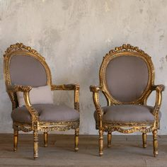 Beautiful Gold Gilt Pair of Armchairs