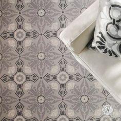 DIY Painted Floor Makeover with European & Spanish Designs - Marisol Damask Tile Stencils - Royal Design Studio