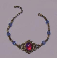 Antique Gold Filigree Dragon's Breath Glass Opal Crystal Bracelet Victorian | eBay