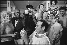 The Cast of One Flew Over the Cuckoo's Nest Posing for their photograph on location at the Oregon State Hospital, Salem, Oregon. Mary Ellen Mark, 1974