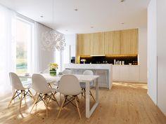 cozinha integrada com piso em madeira