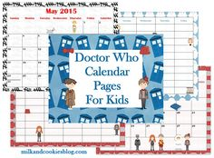 Doctor Who Calendar Pages For Kids (Minecraft available too!)