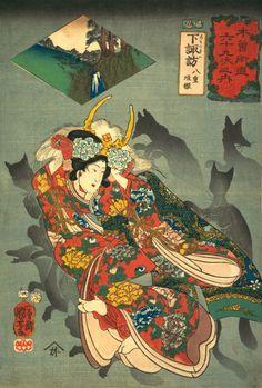 Princess Yaegaki Utagawa Kuniyoshi (Japanese, Date: century Culture: Japan Medium: Polychrome woodblock print; ink and color on paper The Metropolitan Museum of Art Japan Illustration, Japanese Fox, Japanese Prints, Oriental, Kunsthistorisches Museum, Traditional Japanese Art, Kuniyoshi, Art Japonais, Korean Art