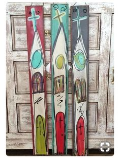 Hand painted wood skinny churches - could recycle old skis with a snowy Christmas theme maybe? Pallet Painting, Pallet Art, Painting On Wood, Painting & Drawing, Pallet Crafts, Wood Crafts, Wow Art, Christian Art, Painting Inspiration