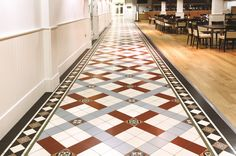 Victorian Floor Tiles - the Cliveden pattern is a striking and attractive design, shown with the Melville border.