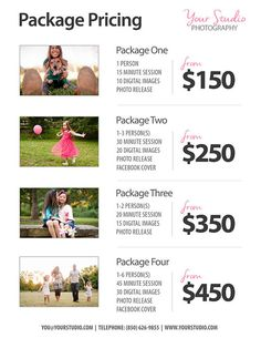 Photography Package Pricing - Photographer Price List - Sell Sheet with Photos - Photoshop Template Photography Packages - INSTANT DOWNLOAD Fully editable photographer package pricing list - doesnt have to be just for portraits and/or sessions, change how you see fit. Very