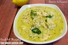 This Thai Ginger Chicken Soup recipe is just a little bit spicy and has great flavor! This slow cooker chicken soup made a great dinner! Crock Pot Soup, Slow Cooker Soup, Slow Cooker Chicken, Ginger Chicken Soup, Chicken Soup Recipes, Crockpot Recipes, Cooker Recipes, Asian Recipes, Ethnic Recipes