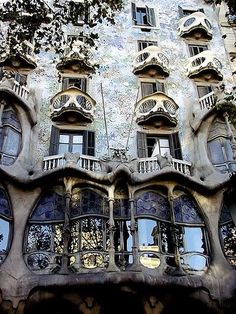 Casa Batlló is a building restored by Antoni Gaudí and Josep Maria Jujol, built in the year 1877 and remodelled in the years 1904–1906; located at 43, Passeig de Gràcia, Barcelona, Spain.   The local name for the building is Casa dels ossos (House of Bones), and indeed it does have a visceral, skeletal organic quality.