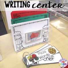 Writing center with a pizza theme. just add pizza writing paper and pizza vocabulary cards. Perfect for preschool, pre-k, and kindergarten. Writing Center Preschool, Writing Area, Preschool Centers, Kindergarten Writing, Preschool Lessons, Kindergarten Literacy, Preschool Classroom, Writing Activities, Preschool Activities