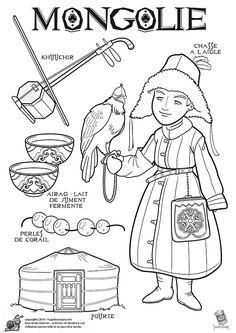 Coloriage / dessin enfant Mongolie