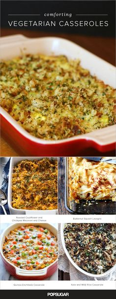Here weve rounded up 21 terrific casserole recipes that are comforting, delicious, plus vegetarian-friendly; do note that a couple recipes call for chicken stock — to make those vegetarian, simply substitute vegetable stock. Healthy Potato Recipes, Veggie Recipes, Mexican Food Recipes, Cooking Recipes, Dog Recipes, Cauliflower Recipes, Beef Recipes, Hamburger Recipes, Dishes Recipes