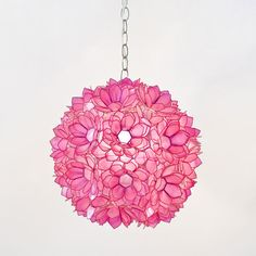 Mila Pendant Lamp in Hot Pink  $338.00  Usually ships within 6-8 Weeks*  Ship Method:  Standard  This contemporary capiz shell Mila Pendant Lamp in Hot Pink cast a warm glow to the room and adds a touch of whimsy. UL approved for a 60 watt single bulb. Includes 3' of chain and canopy.