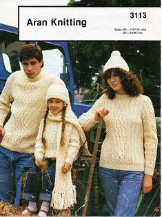 "womens / mens / childrens aran sweater hat scarf knitting pattern PDF ladies aran jumper cap 24-46"" aran worsted 10ply PDF instant Download by Hobohooks on Etsy"