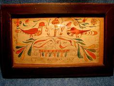 Framed Primitive Early American Folk Art Fraktur w Birds Tulips Dated 1793 | eBay  950.00