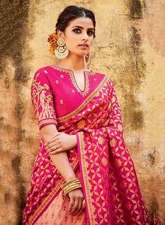 Amazing PinkColored Soft Silk Saree with Matching Color silk Blouse. The Blouse which can be customized up to bust size This Unstitch Saree Length mtr including mtr Blouse. Blouse Designs Silk, Saree Blouse Patterns, Choli Designs, Anarkali, Lehenga Choli, Banarasi Sarees, Sabyasachi, Bridal Lehenga, Stylish Sarees