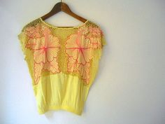 Vintage pale yellow and Embroidered pink by houuseofwren on Etsy
