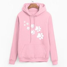 Casual fleece autumn winter sweatshirt pullovers 2018 kawaii cat paws print  hoodies for Women black pink brand tracksuits femme 838d1c8c9686