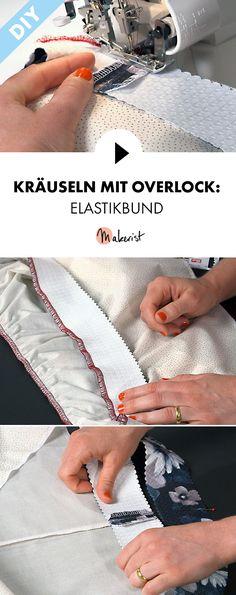 Kräuseln mit der Overlockmaschine: Elastikbund - Schritt für Schritt erklärt im Video-Kurs via Makerist.de